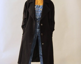 Black 90s Wool Oversized Coat