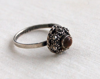 Tigers Eye Ring Size 6 .25 Ornate Mexican Sterling Silver  Vintage Dome Southwestern Boho Jewelry