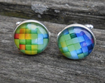 Rainbow Brick Cufflinks. Wedding, Valentine Gift, Groomsmen, Dad, Anniversary, Birthday, Abstract. ROYGBIV.