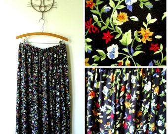 floral print skirt, boho gypsy festival, black red flowers, garden party, vintage 80s 90s, women large, elastic waist