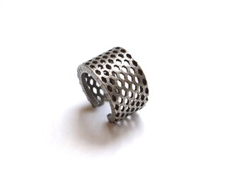 3d printed modern industrial jewelry - Perforated Elongated Honeycomb Ring - stainless steel ring, fashion gifts, unique rings