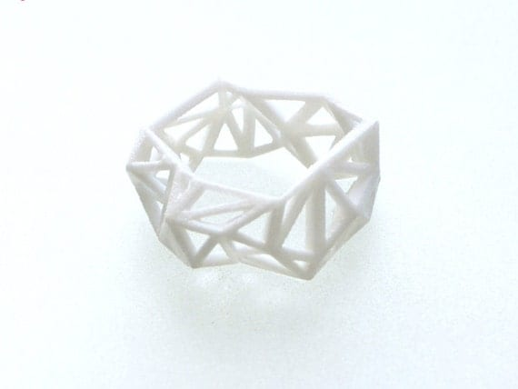 faceted, geometric ring - Triangulated Ring in White. modern jewelry, 3d printed, statement ring