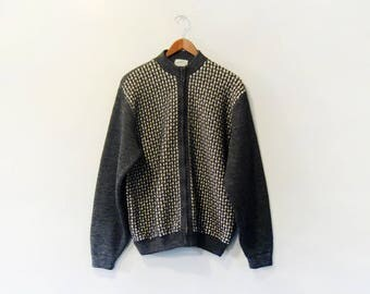 Vintage Kaso Zippered Wool Cardigan Sweater Seattle / Northwest Men's X Large 60's