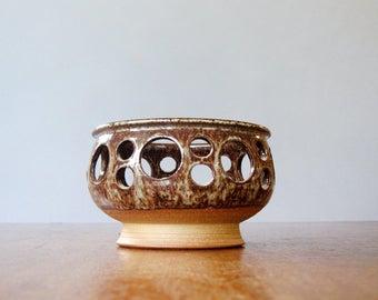 Mid Century Signed Danish Pottery / Ceramic Candle Holder / Lantern / Bowl