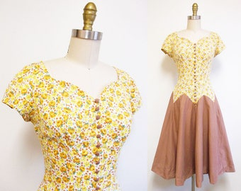 Vintage 1950s Dress | Yellow Rose Print 1950s Cotton Party Dress | size small | 5D018