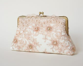 Elegant Wedding Old Rose Bridal Clutch / Personalized Bridesmaid Clutch Purse / Wedding Lace Clutch