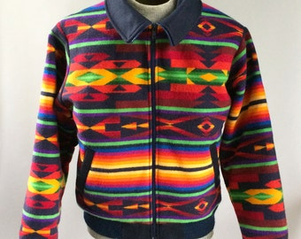 Vintage Pendleton Woolen Mills Wool Jacket Bright Navajo Pattern Yellow, Red, Green, Purple, Black