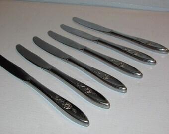 6 Vintage Oneida Community My Rose Hollow Knives Mid Century Flatware