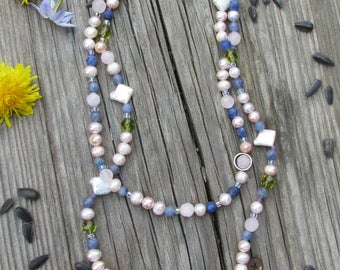Double strand gemstone, silver, and pearl necklace