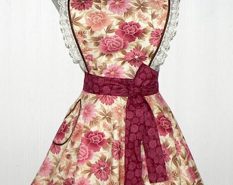 """Rose Floral """"Sweetheart"""" Twirly Skirt Apron, RETRO CIRCLE SKIRT Apron, sweetheart neckline, flirty pin up apron, ReAdY to Ship"""