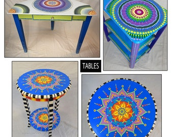 Hand Painted Furniture, Custom Hand Painted Furniture, Colorful Hand Painted Furniture, Hand Painted Side Table, Custom Side Table