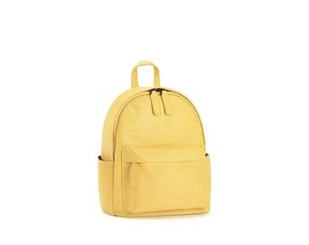 Leather backpack purse minimalist yellow leather rucksack