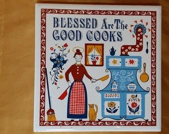 BERGGREN Trayner Tile Trivet Blessed Are The Good Cooks Vintage 1963 *eb