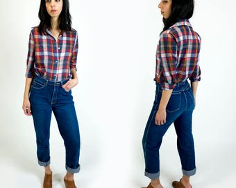 Vintage 1970s Levi's Paper Thin Red White and Blue Plaid Western Wear Style Button Down Boyfriend Shirt Size S Small