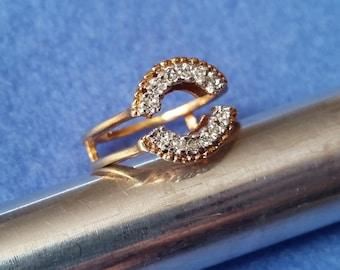 Vintage Esposito Espo Faux Diamond Yellow Gold Ring Enhancer Guard Wrap, size 5.5, 14KT HGE