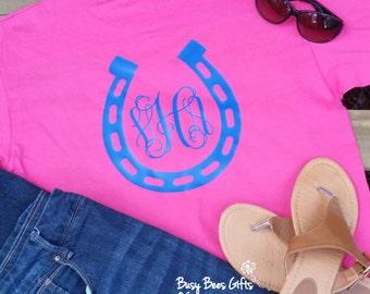 Horse Shoe Monogram Shirt * Horseshoe Monogram Shirt * Womens Monogram Shirt * Personalized Shirt * Adult Short Sleeve Shirt