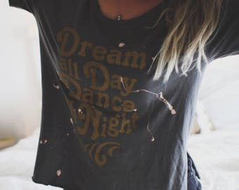 Distressed Dreamer Side Slit Rocker Tee, Vintage Inspired Tee, Retro Tee, Grunge Tee, Grunge Shirt, Destructed Women's Tee, Slouchy Shirt