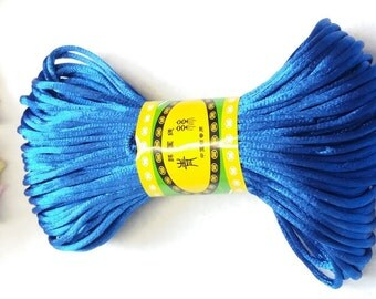 20M, 2mm Blue Cobalt satin rattail cord trim string