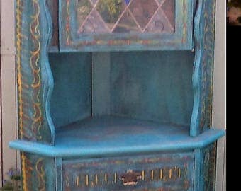 Hand painted teal corner cupboard