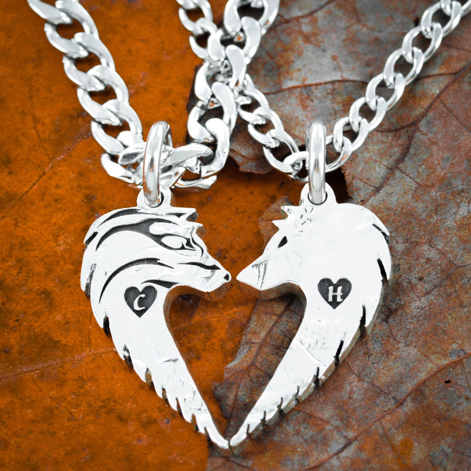 Wolf Couples Necklaces, Custom Initials engraved, Wolves making ...