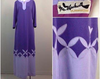 RARE Vintage 1970s Mr Blackwell Purple Colorblock Maxi Dress / Women's Medium / 70s Designer Novelty Print Long Sleeve Dress