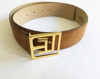 Balmain Belt, Pierre Balmain Paris Brown Suede Belt, Size 75/30, Vintage Belt, Waist Belt, Gold Buckle, Statement, Designer Belt, 80's