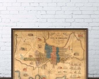 Antique map of Portland - Restored historical map, fine print