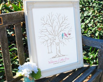 Baby Shower Thumbprint Tree Guest Book Alternative, Gender Reveal Party, Baby Announcement, Nursery Wall Art, Birds & Swing, Canvas or Print