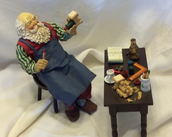 Santa Claus Making Train and Toys Work Table Train