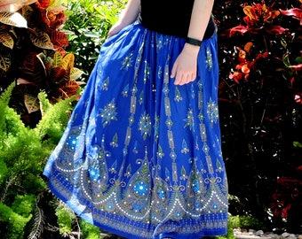 Boho Gypsy Skirt: Long Cobalt Blue Indian Bollywood Skirt, Bohemian Skirt, Crinkle Peasant Maxi Skirt, Sequined Belly Dance Skirt, Cover Up