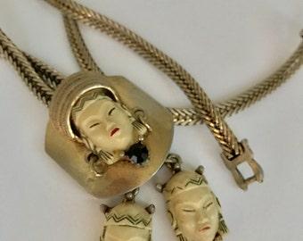 Selro SELINI BOLO Necklace Lariat ASIAN Princess Vintage Faces