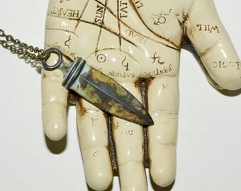 Sword Necklace, Verdigris Sword, Dagger Pendant, Aged Sword Charm, OOAK Necklace, Shortsword Necklace, Vintage Style Jewelry, Brass Sword