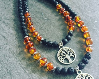 Tree Of Life-EARTH Necklace, Baltic Amber Necklace, Tree of Life Necklace, Lava Stone Necklace, Tree of Life Jewelry, Midwife, Doula Gift