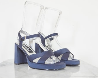 90s Blue Satin Platform Pumps / Women's Size 8.5 US - 39 Eur - 6.5 UK