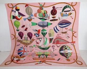 Vintage Hermes silk scarf Les Folies Du Ciel by Loic Dubigeon hot air balloon print light pink