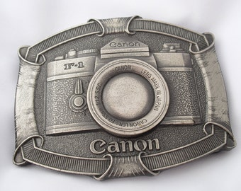 Vintage Camera Buckle by Lewis Buckles of Chicago - Canon USA F-1 Camera Belt Buckle  - Father's Day