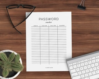 Password Log Printable