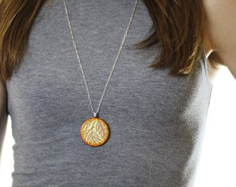 Yellow and Red Leaf Wood Pendant Necklace // Silver Plated Long Chain // Gift for Her
