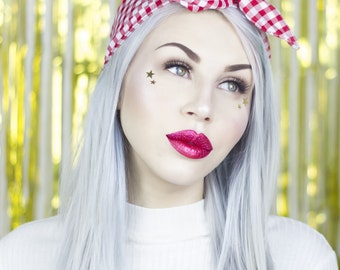 Red And White Gingham Check wire Headband