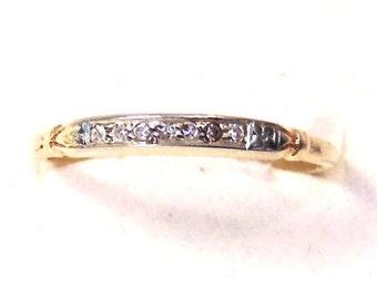 Art Deco 14K Diamond Band Ring, Wedding, Anniversary, Stacking Ring, Yellow Gold, White Gold