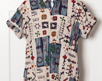 Vintage Mens 90s Button Down wild pattern - NATURAL ISSUE - LT