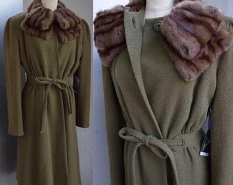 NEAR MINT Vintage late 1930s - 1940s WW2 era military khaki green wool princess coat and mink fur collar