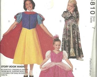 McCalls Costume Pattern 6810 Child Storybook Magic: Dorothy Cinderella, Belle, Snow White, Sleeping Beauty (7) UNCUT