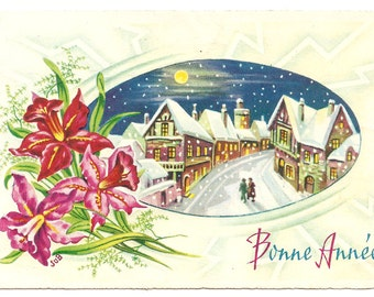 Snowy Night Town & Pink Orchids Vintage French Christmas Gift Tag Card from Vintage Paper Attic