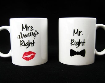 Personalized Coffee Mug - Bride and Groom Ceramic Mug Set - Gift for the Couple - His and Her Mugs - Mr. and Mrs gift - Bridal Shower gift