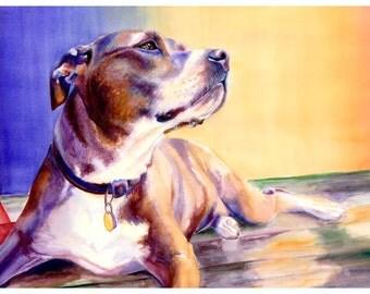 "5x7"" Pit Bull Dog Watercolor Art Poster Print [Pit Bull Painting Pit Bull Watercolor Pit Bull Print Pit Bull Art Pit Bull Art Print]"