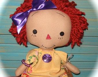 "Pretty Raggedy Ann Annie Doll 15"" Vintage Embroidered Dress Revamped OOAK Handmade*"