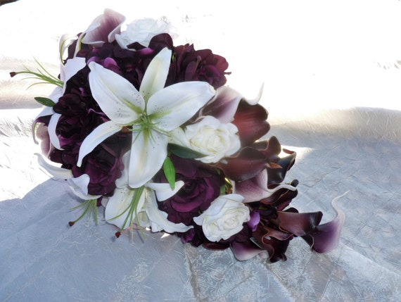 Bridal teardorp, cascading, plum, ivory, rose, calla lily, silk, real touch artificial flower bouquet, tiger lilies, stargaizer, rose