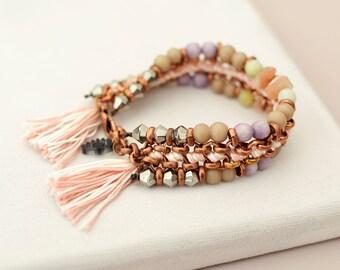 Friendship Bracelet, Mineral Bracelet, Pastel Bracelet, Beaded Bracelet, Tassel Bracelet,Boho Chic, Hippie Bracelet, Evil Eye Bracelet