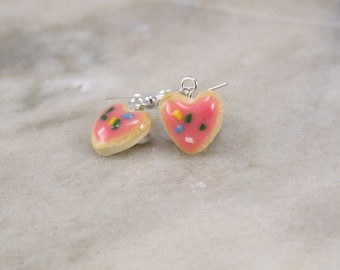 Miniature Tiny Heart shaped Sugar Cookie Polymer Clay Earrings